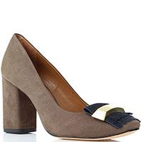 Туфли из нубука коричневого цвета Vicenza с крупным декором и бахромой синего цвета, фото