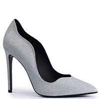 Серебристые туфли Genuin Vivier на высоком каблуке, фото
