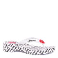 Белые шлепанцы Love Moschino с черным лого, фото