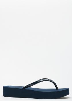 Шлепанцы на платформе Emporio Armani синего цвета, фото