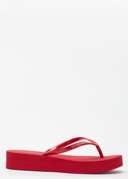 Красные шлепанцы Emporio Armani на платформе, фото