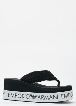 Черные шлепанцы Emporio Armani на платформе, фото
