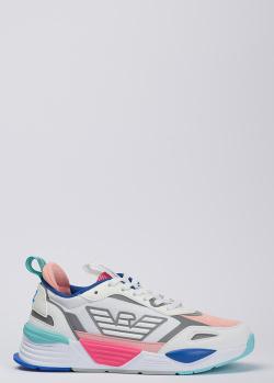 Белые кроссовки Emporio Armani с цветными вставками, фото