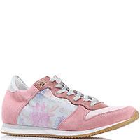 Розовые кроссовки Patrizia Pepe с цветочным принтом, фото