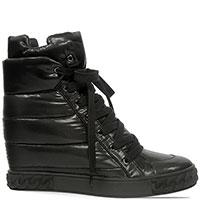 Сникерсы Casadei черного цвета на шнуровке, фото