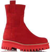 Ботинки на молнии Paloma Barcelo Amaya из красной замши, фото