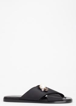 Черные мюли Vittorio Virgili с декором-бусинами, фото