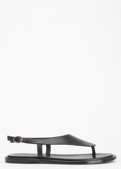 Сандалии из кожи Vittorio Virgili черного цвета, фото