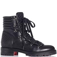 Черные ботинки Christian Louboutin со стегаными вставками, фото