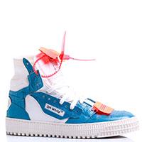Высокие голубые кеды Off-White с белыми вставками, фото