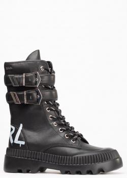 Черные ботинки Karl Lagerfeld с надписью на пятке, фото