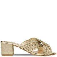 Золотистые мюли Prima с драпировкой, фото
