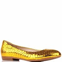 Туфли Gianni Renzi Renzi из кожи с фактурой под кожу змеи золотого цвета, фото