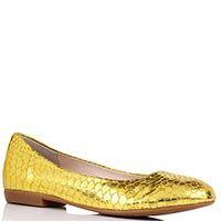 Туфли Gianni Renzi Renzi из кожи с фактурой под кожу змеи светло-золотого цвета, фото
