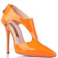 Туфли Gianni Renzi Renzi из ярко-оранжевой лаковой кожи с открытыми боками, фото