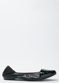 Черные балетки Givenchy с лаковой вставкой, фото