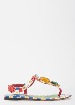 Сандалии из кожи Dolce&Gabbana с декором-камнями, фото