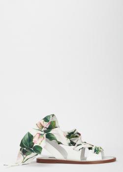 Белые сандалии Dolce&Gabbana с лентами, фото