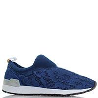 Кружевные кроссовки Liu Jo без шнуровки синего цвета, фото