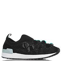 Кроссовки без шнуровки Liu Jo черного цвета с декором из бисера и пайеток, фото