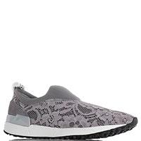 Кружевные кроссовки Liu Jo без шнуровки серого цвета, фото