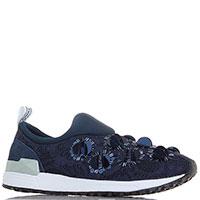 Кроссовки без шнуровки Liu Jo синего цвета с декором из бисера и пайеток, фото