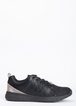 Черные кроссовки Philipp Plein Sport с геометрической строчкой, фото