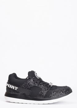Черные кроссовки Philipp Plein Sport с глиттером, фото