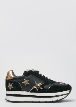 Черные кроссовки Voile Blanche с декором-звездами, фото