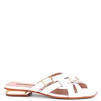Белые шлепанцы Nila&Nila на золотистом каблуке, фото