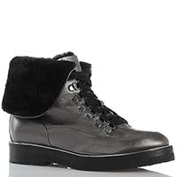 Серебристые ботинки с отворотом из зернистой кожи Camerlengo на толстой подошве, фото