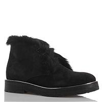 Ботинки на шнуровке из черной замши Camerlengo на толстой подошве, фото