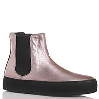 Золотистые кожаные ботинки Camerlengo со вставками-резинками, фото