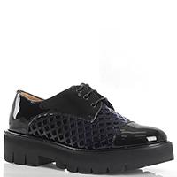 Лаковые туфли Camerlengo с синей бархатной вставкой, фото