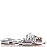 Сланцы Albano серебристого цвета с декором на носке, фото