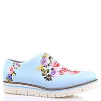 Голубые туфли на толстой подошве Luigi Traini с цветочным принтом, фото
