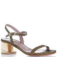 Золотистые босоножки Albano на устойчивом каблуке, фото