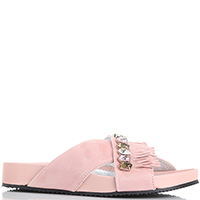 Замшевые сланцы Marzetti розового цвета с бахромой, фото