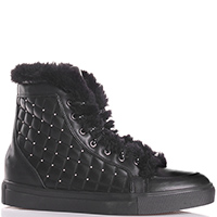 Черные ботинки Albano с геометрическим  тиснением на коже, фото