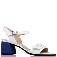 Белые босоножки Mot-Cle на синем каблуке, фото