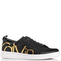 Черные кеды Calvin Klein с золотистым принтом, фото