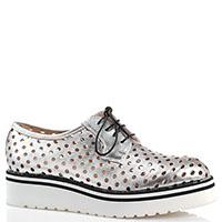 Серебристые туфли Redwood из кожи с крупной перфорацией, фото
