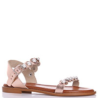 Золотистые сандалии Nila&Nila с декором-бусинами, фото
