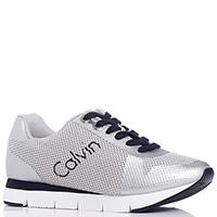 Серебристые кроссовки Calvin Klein на шнуровке, фото