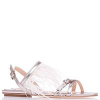 Золотистые сандалии Fabio Rusconi с украшением из перьев, фото