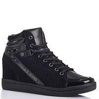 502ea64a37fc 38 39 40. Versace Jeans. Высокие черные кеды на скрытой танкетке Versace  Jeans с лаковыми элементами
