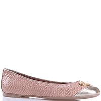 Бежевые туфли Emporio Armani с имитацией змеиной кожи, фото