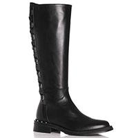 Черные сапоги MA&LO с декоративной шнуровкой, фото