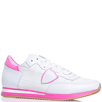 Белые кроссовки Philippe Model с розовыми вставками, фото