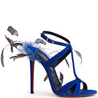 Синие босоножки Merlyn Shoes с декором в виде перьев, фото